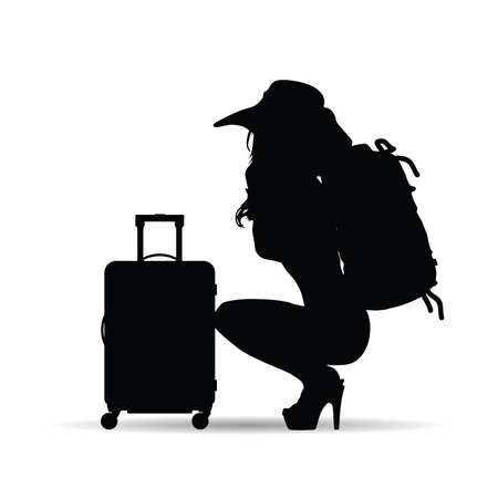 girl with travel suitcase and bag silhouette on white