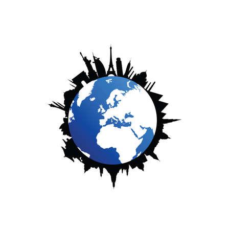 travel silhouette destination with globe vector illustration