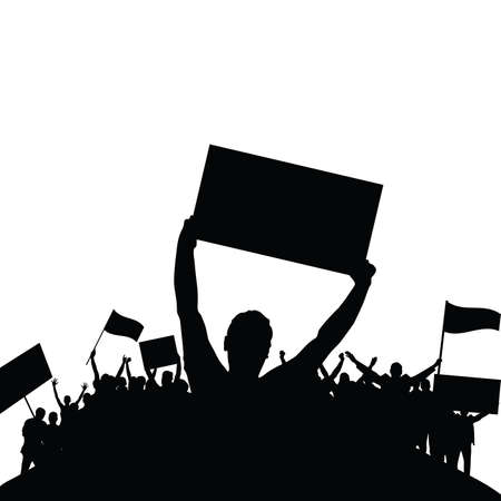 Protest people black silhouette vector on white