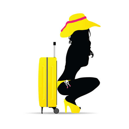 travel bag with girl silhouette illustration in colorful
