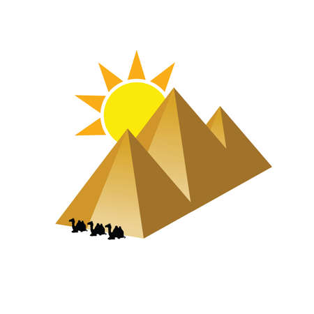 pyramid with camel illustration in colorful