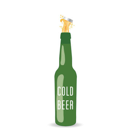 cold beer bottle vector in green color