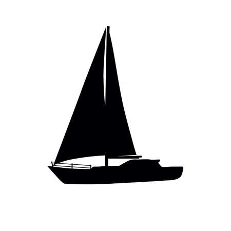 sailboat icon silhouette, yacht in black color