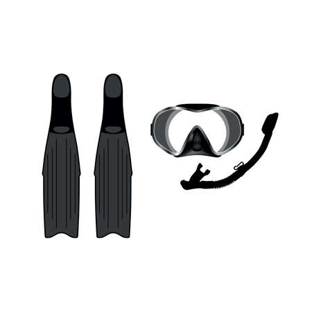 mask, snorkel and fin set vector on white background