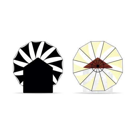 old greek windmill silhouette and vector illustration Иллюстрация
