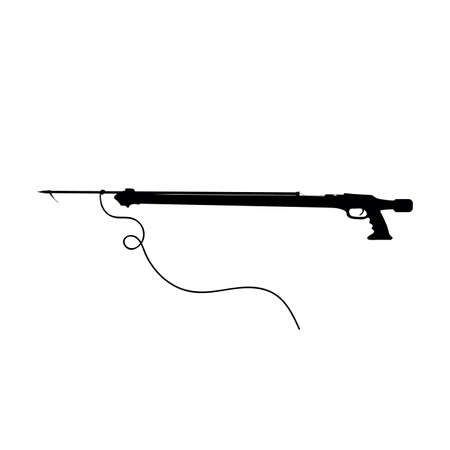 harpoon gun for fishing vector black silhouette