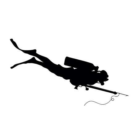 scuba diver with harpoon gun vector silhouette Иллюстрация