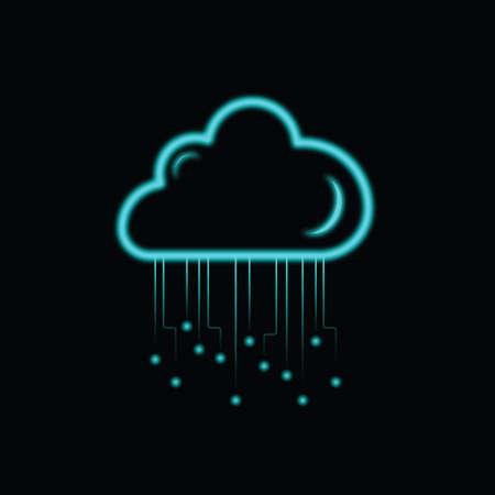 technology neon cloud icon on black background Illustration