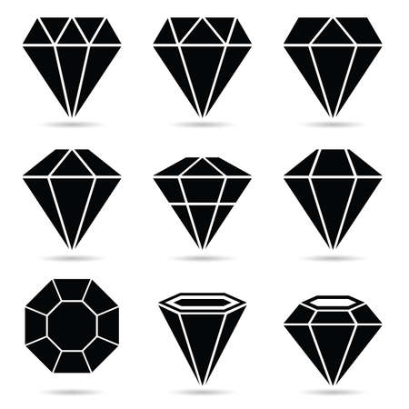 diamond set vector in black with white background