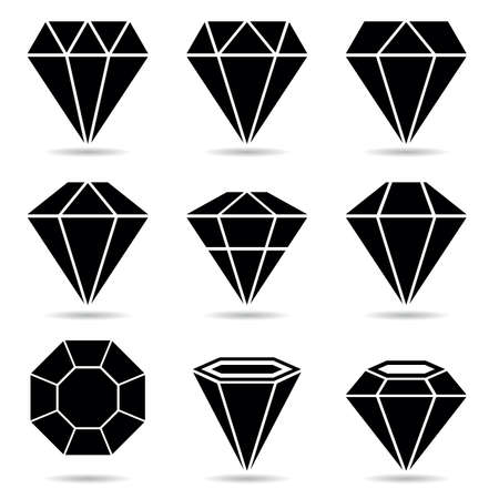 diamnod icon vector in different shape and black