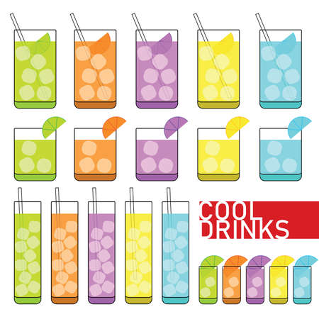 drinks icon vector in different colors on white Standard-Bild - 131721008