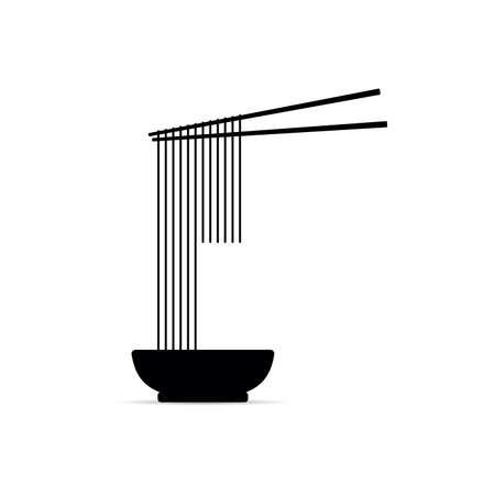 spaghetti on the chopsticks, vector illustration on white Standard-Bild - 136302168