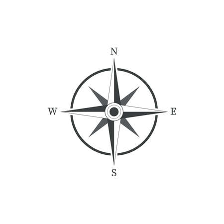 compass icon in black color vector on white background