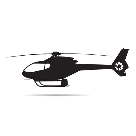 helicopter in black color vector silhouette - transportation object