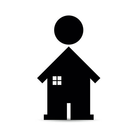 people icon and home symbol - house music Illustration