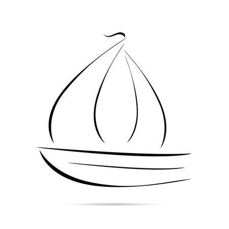 sailing boat - line icon on white background