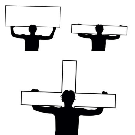 human silhouette holding cross and board on white
