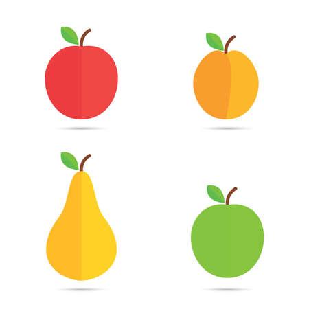 fruit vector icons illustration on white background Illusztráció