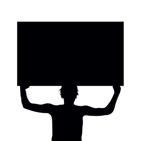 man silhouette holding protest sign in black Illustration