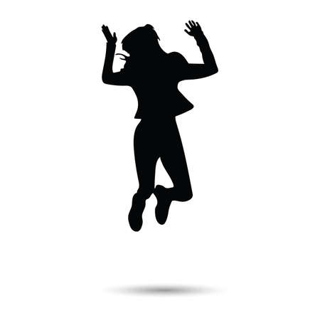 girl silhouette jumping and happy on white background Illusztráció