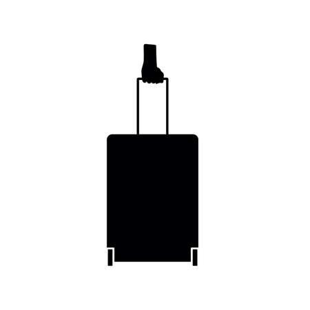 hand silhouette holding travel bag on the white Illustration
