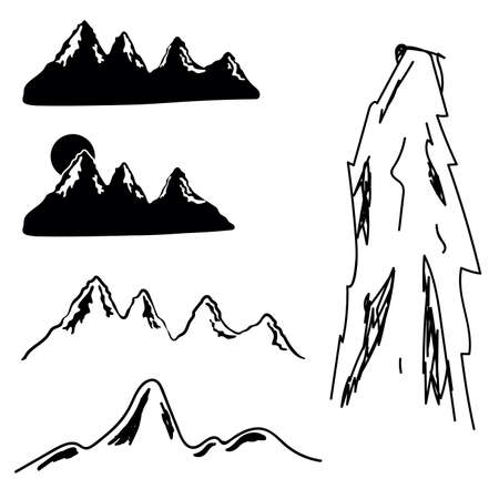 mountains silhouettes set one with snow vector illustration Standard-Bild - 131720696