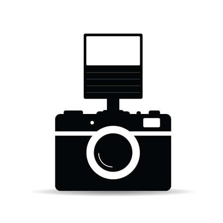 vintage photo camera vector illustration in black