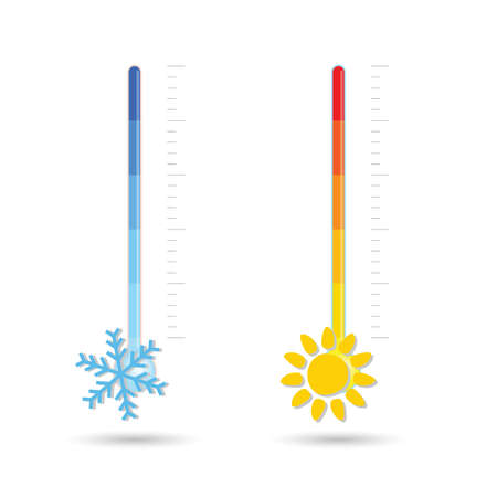 temperature hot and cold icon illustration on white