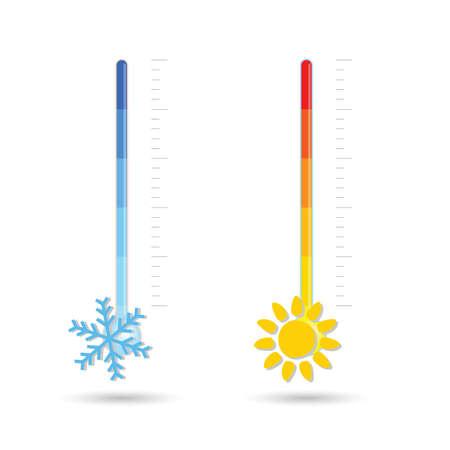 temperature hot and cold icon illustration on white Illusztráció