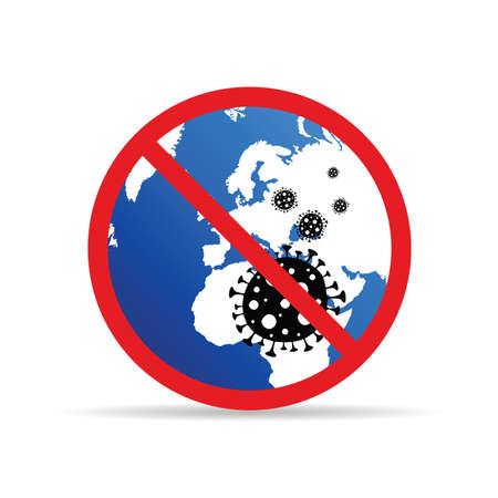 coronavirus sign with map of the europe art illustration Illustration