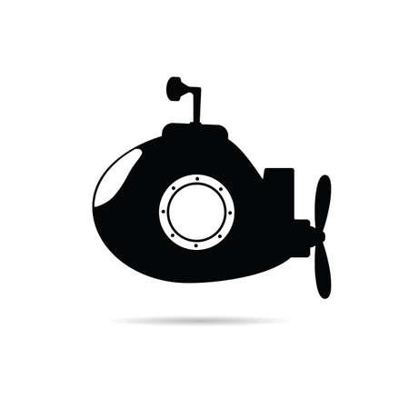 submarine icon illustration in black color Illustration