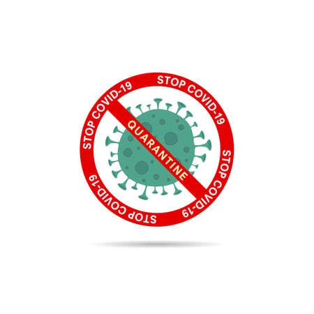 corona virus with virus symbol stop sign vector illustration