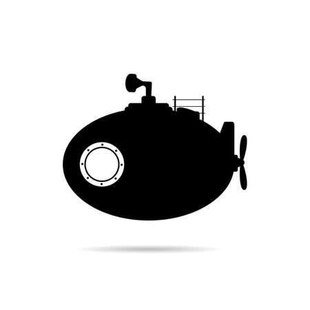 submarine transportation object and icon vector in black