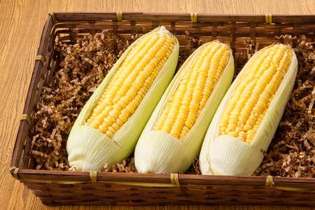 Corn in basket photo