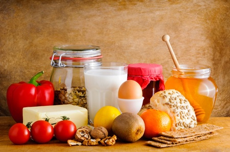 healthy life: Still life with healthy food Stock Photo