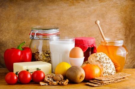 still life: Still life with healthy food Stock Photo
