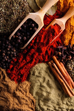Background with different exotic spices photo