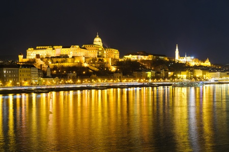 Budapest in Hungary and Danube river at night photo