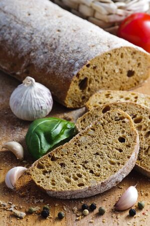 background food still life with italian ciabatta bread photo