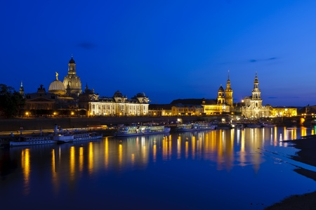 dresden: historic city center in dresden with elbe river, germany, at night Stock Photo