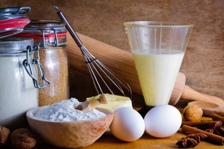 baking cake: Still life with traditional baking ingredients Stock Photo