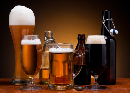 types of glasses: still life with different types of beer in glass and bottle