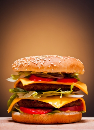 burger background: large double burger closeup fast food