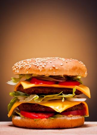 large double burger closeup fast food photo