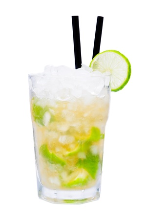 crushed ice: Fresh cold caipirinha cocktail drink isolated on a white background