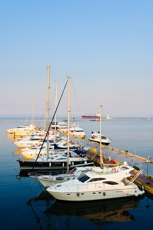 yachting: Landscape with yacht port in odessa, ukraine