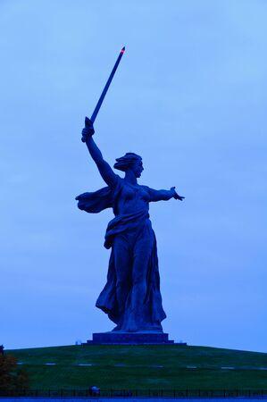 volgograd: The Mamayev  Motherland Calls  monument in Volgograd, Russia, at night