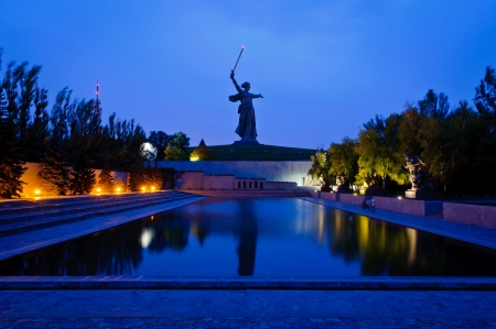 The Mamayev  Motherland Calls  monument in Volgograd, Russia, at night photo