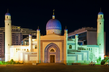 Mosque in center of Atyrau in Kazakhstan at night