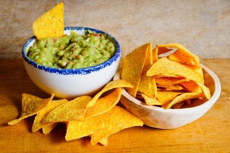 Nachos chips and guacamole dip